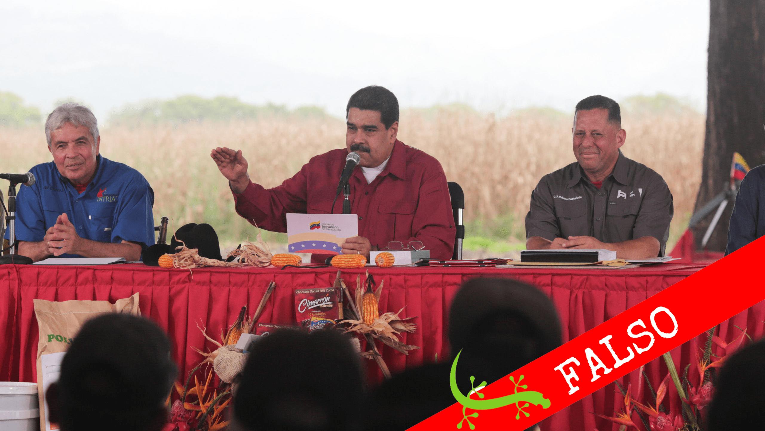 """#Cotejado Maduro: """"el país está llegando a los niveles más altos de producción alimentaria desde 2007"""""""