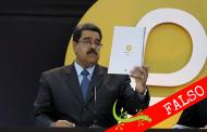 """#Cotejado Presidente Maduro anunció en diciembre de 2017 el Petro, una criptomoneda """"para avanzar en materia de soberanía monetaria"""