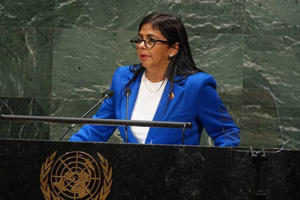 Delcy Rodríguez pasó por la ONU sin mencionar el éxodo venezolano y las penurias internas