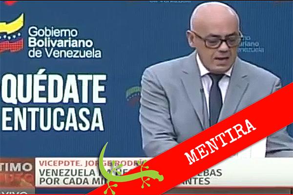 """Jorge Rodríguez: """"Venezuela ha aplicado 1.227 pruebas por cada millón de habitantes"""""""
