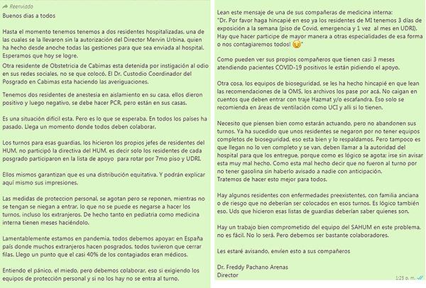 Mensaje de WhatsApp que narra el contagio de dos residentes del Hospital Universitario de Maracaibo