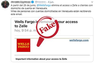 Captura del tuit referente a Wells Fargo