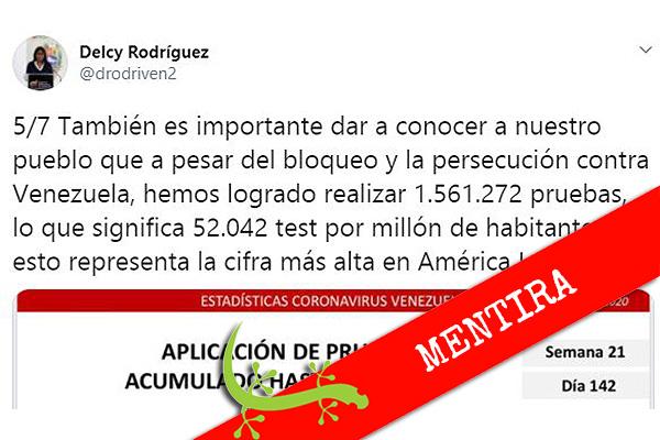"""Delcy Rodríguez: """"Venezuela tiene la cifra más alta en América Latina de pruebas COVID-19 por millón de habitantes"""""""