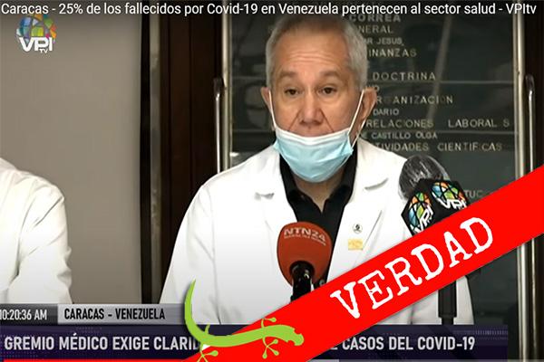 """Douglas León Natera: """"25 % de los fallecidos por COVID-19 en Venezuela pertenece al sector salud"""""""